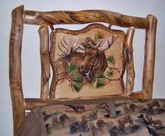 Detail of Moose Carving on Aspen Log Bed Headboard - Item # BR04001 - Available in Queen or King