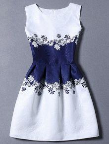 Waisted Corset Printed Round Neck Sleeveless Dress
