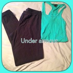 Underarmour pant/capris 64% nylon 22% polyester 14% elastane! Elastic waist band and around the ankles. The back of the ankles have lint as shown in last pic. Other than that perfect condition. Very warm and comfortable. Haven't been worn in years. Under Armour Pants Track Pants & Joggers