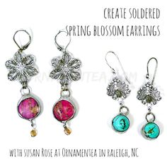 Spring Blossoms Earrings, a stained-glass style soldering class at Ornamentea with Susan Rose. Open to all skill levels.