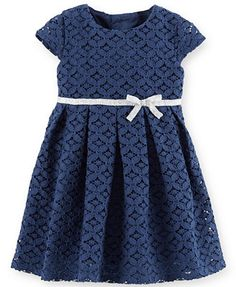 Baby Girl Dresses Clothes at Macy's come in a variety of styles and sizes. Shop Baby Girl Dresses Clothing at Macy's and find newborn girl clothes, toddler girl clothes, baby dresses and more. Dress With Bow, Lace Dress, Toddler Outfits, Kids Outfits, Baby Girl Caps, Carters Baby Girl, Baby Girls, Navy Lace, Baby Girl Fashion