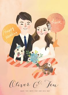 Wedding Illustration, Couple Illustration, Wedding Couples, Save The Date, Big Day, Wedding Cards, Chibi, Movie Posters, Wedding Ecards