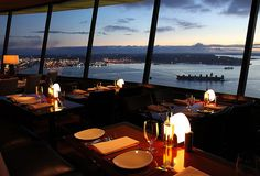 360 degree Rotating SkyCity Restaurant at the top of the Space Needle. (pictured facing toward West Seattle where I live)