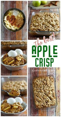 The Best and EASIEST Apple Crisp Recipe with Vanilla Ice Cream - Fall and Winter Dessert must for Thanksgiving and Christmas - Dreaming in DIY Desserts The Best and Easiest Classic Apple Crisp Dessert Recipe Winter Desserts, Apple Desserts, Easy Desserts, Delicious Desserts, Dessert Recipes, Yummy Food, Bakery Recipes, Apple Crisp Easy, Apple Crisp Recipes