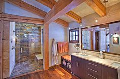 Everything is right about the stone shower walls.