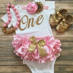 Pink Gold Birthday/Vintage/First Birthday ruffle by BabyTrendzz