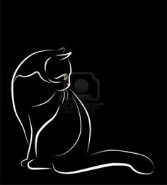 Reverse colors for a tat. Maybe an option for my Chipper tat<3 outline illustration of sitting white cat