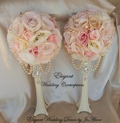 ELEGANT PAIR (2) WEDDING SILK FLOWER CENTERPIECES - $170.00 (For Both) This is a Clients SOLD Order but these pretty centerpieces can be Made and customized for your wedding or event. Pink Mix flowers, Ivory Mix, Reds, Purples, Peach........ (You decide the color for your wedding tables) Vase Included (Silver, white, ivory or black vases available). Pearl accents and Gem on Vase is included in this Design. These Centerpieces measure 19 in height. Flower Pomanders on top of Vase is a 9.5 (29…