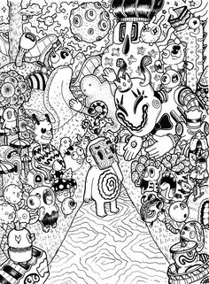 Welcome and enjoy random doodles, love doodles, doodle art drawing, doodle Monster Coloring Pages, Adult Coloring Book Pages, Colouring Pages, Coloring Books, Doodle Art Drawing, Doodle Sketch, Monster Illustration, Love Doodles, Random Doodles