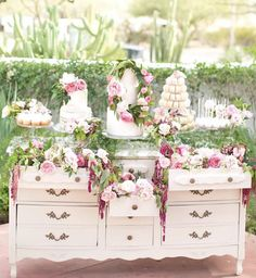 Dessert table - white cakes with soft pink floral accents on a vintage dresser Wedding Desserts, Wedding Decorations, Wedding Dessert Tables, Vintage Wedding Cake Table, White Dessert Tables, Wedding Cakes, Dessert Table Backdrop, Candy Bar Decoracion, Bar A Bonbon