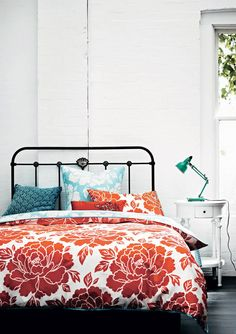Queensland Homes Blog » LET THE SUNSHINE IN: Bedroom Bliss | Absolutely adore this Peony bedspread, one of Pillowtalk's chic designs. Bright, tomato-esque hues are just to die for.