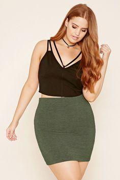 Forever 21+ - A knit mini skirt featuring an elasticized waist.