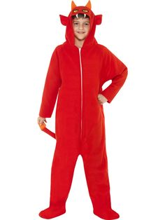 This costume features an all in one jumpsuit in a demon red costume. The Devil All in One Costume, child size, also come with a hood in shape of a devils head with horns, ears, eyes and teeth. Halloween Party Themes, Halloween Fancy Dress, Halloween Kostüm, Halloween Costumes For Kids, Black Girl Halloween Costume, Devil Costume, Red Costume, Childrens Fancy Dress, Red Guy
