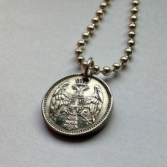 Lp Serbia 5 Para coin pendant necklace jewelry Serbian white EAGLE Yugoslavia #acnyCOINJEWELRY #Pendant