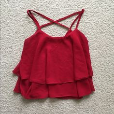 Crisscross red chiffon layer crop top Brand new fits both small and XS Tobi Tops Tank Tops