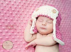 Crocheted Aviator Hat... too cute!