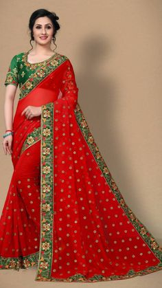 Indian Dresses, Indian Outfits, Saree Blouse Patterns, Red Saree, Red Colour, Casual Saree, Wedding Parties, Oriental Fashion, Georgette Sarees
