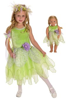 DELUXE Tinkerbell  Child and Doll Costume Set-Neverland was never this fancy.  A happy green stretch velvet bodice, two layers of bright green organza with a scalloped bottom over a china silk slip make up this fairy fantasy.  #DressUp #pretend