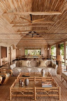 See all our stylish living room design ideas on HOUSE - design, food and travel by House & Garden, including a redesigned bamboo house on the Caribbean island of Mustique Rest House, House In The Woods, Rural House, Tiny House, Interior Tropical, Rattan, Wicker, Bamboo House Design, Nachhaltiges Design