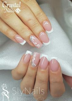 50 Top Best Wedding Nail Art Designs to Get Inspired Stylish Nails, Trendy Nails, Cute Nails, Bride Nails, Wedding Nails, French Tip Nails, French Nail Design, Bridal Nail Art, Crystal Nails
