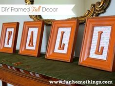 Easy! Dollar store frames, painted. Add scrapbook paper and wooden letters from HL
