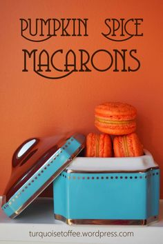 Pumpkin Spice Macarons…Pumpkin pie flavoured macarons, could it get any better?  The most wonderful, little, luxurious cookie combined with the most inviting, warm, fall flavoured spice. Perf…