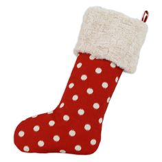 Brite Ideas Living Ikat Dot Red Lined Stocking | from hayneedle.com