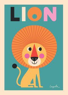 Lion - Een prachtige stoere poster met een leeuw. Deze poster is ontworpen door de Zweedse illustratrice Ingela P. Arrhenius voor OMM design.   Formaat: 50 x 70 cm, 170 grams papier.   Verzending in stevige koker.