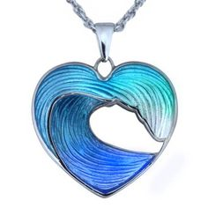 Guy Harvey - Heart of the Sea - Wave Necklace in Sterling Silver and Enamel