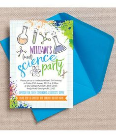Mad science themed birthday party invitations. Perfect for kids who love doing experiments in the lab! Printable / Instant download / digital pdf available. Personalise online with your own text. More matching science themed children's birthday stationery at HipHipHooray.com