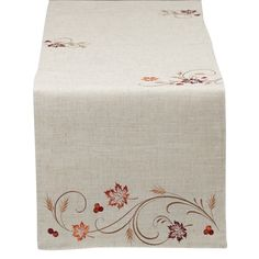 Graceful embroidered details lend an elegant touch to this Autumn Table Runner from Design Imports. Whether entertaining or for everyday decor, this linen-textured design finishes the well-appointed room perfectly. Autumn Table, Thanksgiving Table, Thanksgiving Catering, Table Covers, Table Linens, Table Runners, Embroidery Patterns, Decorative Boxes, Couture