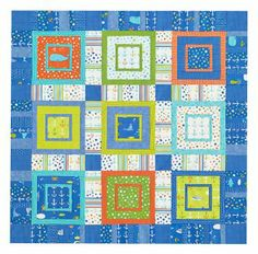 Fussy-cut underwater and nautical prints and frame them inside boxes of sea and surf colors for a wall quilt that is perfect for little pirates and mermaids!