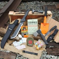 Pick the best tools to outlast the zombie apocalypse, because your survival depends on it. Good judgment points towards the Man Crates Zombie Survival Crate to show the undead who's alive and thriving. Zombie Survival Guide, Zombie Apocalypse Survival, Survival Prepping, Survival Gear, Survival Skills, Zombie Apocolypse, Doomsday Prepping, Zombie Gear, Survival Quotes