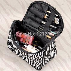 2.34€Cebra-raya de Maquillaje Bolsa de Charol Impermeable Cosméticos Bolsa de Viaje Bolso Informal Para Damas HB88