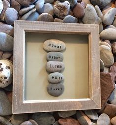 Details about Unique Gift Handmade OUR FAMILY Pebble Art Frammed Personalised Custom Words – Stained Glass and Glass Art Techniques Stone Crafts, Rock Crafts, Diy And Crafts, Crafts For Kids, Handmade Home Decor, Handmade Gifts, Personalised Gifts, Cuadros Diy, Pebble Art Family
