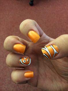 Fiddyjjjnu nemo nails Fiddyjjjnu y+ Disney Nail Designs, Pretty Nail Designs, Halloween Nail Designs, Halloween Nails, Nail Art Designs, Disney Inspired Nails, Disney Nails, Disneyland Nails, Love Nails