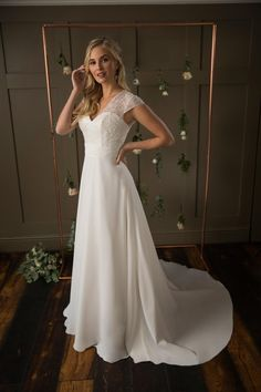 Bridal gown featuring a sweetheart neckline, beaded over lace, a high back, delicate cap sleeves and full A-line chiffon skirt. Lacy Wedding Dresses, Elegant Wedding Gowns, Designer Wedding Dresses, Bridal Dresses, Dusty Pink Weddings, True Bride, Pink Wedding Colors, Young Wedding, Princess Bridal