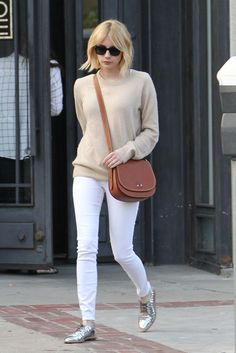 d72c570f5cd6 Emma Roberts  Camel Sweater and Silver Oxfords Look for Less + Kendra Scott  Exclusive Discount (The Budget Babe). Silver ShoesSilver OxfordsMetallic ...