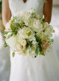 romantic white bouquet featuring peonies, roses and hydrangeas by Mint Springs Farm