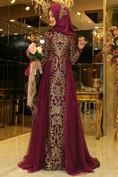 Deep burgundy and gold royal dress