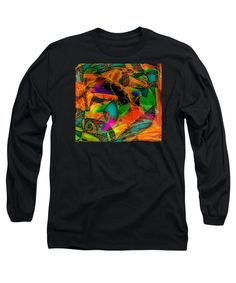 Contemporary Colorful Modern Abstract Expressionist Doodle Manipulated Long Sleeve T-Shirt featuring the digital art Digi Doodle Two by Expressionistartstudio Priscilla-Batzell