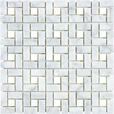 Anatolia Tile Carrara Pinwheel Marble Polished Natural Stone Mosaic Basketweave Wall Tile (Common: 12-in x 12-in; Actual: 11.73-in x 11.73-in)