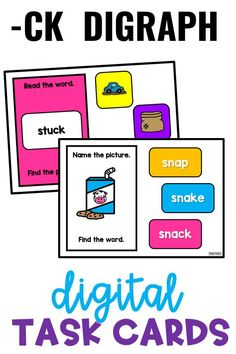 We tackle the CK digraph in final position near the end of kindergarten or beginning of first grade. These independent task cards can be used as a supplement to any K-2 curriculum, during intervention/special education, and with homeschool. These digital task cards provide a wonderful solution for distance learning.
