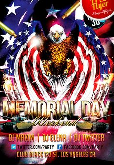 Free INDEPENDANCE  Day Weekend Party Flyer Template - http://freepsdflyer.com/free-memorial-day-weekend-party-flyer-template/ The Free Memorial Day Weekend Party Flyer Template was designed to promote your next Memorial Day party and club event. This print ready free flyer template includes a 300 dpi print ready CMYK file. All main elements are editable and customizable.   #4ThJuly, #Club, #Event, #Lounge, #MemorialDay, #Night, #Nightclub, #Party