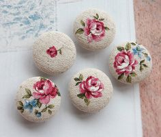 Kawaii 5 Shabby Chic Flower Printed High Quality Japanese Cotton Linen Fabric Buttons 25mm Custom Handmade Zakka Craft. $4.70, via Etsy.