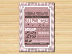 Art Deco Typography Bridal Shower Postcard Invitation- DIY Digital Printable File - Wedding Couple Bachelorette Hen Night. Available at: http://www.etsy.com/shop/styledbykristen