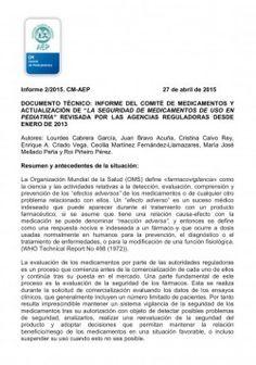 """Informe del Comité de Medicamentos y actualización de """"la seguridad de medicamentos de uso en pediatría"""" revisada por las agencias reguladoras desde enero de 2013 http://www.comunicae.es/nota/informe-del-comite-de-medicamentos-y_1-1115410/"""