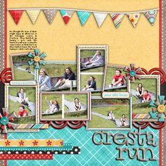 Love the color scheme and pennant flag embellishments.  Cresta Run - Scrapbook.com