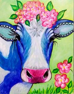 Yvette Andino Art Barbie the Happy blue cow painting, unframed farm animal Canvas Painting Quotes, Cow Painting, Acrylic Painting Canvas, Canvas Art, Canvas Ideas, Cute Paintings, Animal Paintings, Animal Art Projects, Farm Art