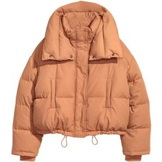 Padded, quilted jacket in woven nylon-blend fabric in a short, slightly  wider cut. Stand-up collar, zip and wind flap at front